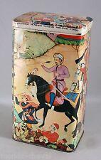ANCIENNE BOITE  EN FER BLANC, années 60,  décor oriental, cheval, maharadjah