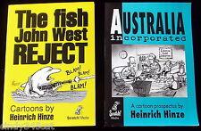 Political Cartoons Fish John West Reject & Australia Inc Heinrich Hinze 2 Books