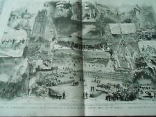 Grande Gravure 1874 - Fêtes de Dunkerque bénédiction pierre bassin par Régnier
