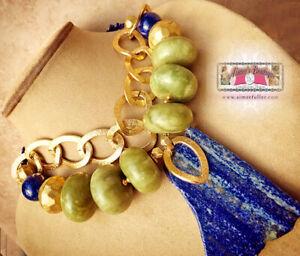LAPIS LAZULI NATURAL Chunky STATEMENT NECKLACE Olive Green XL Jade Jumbo Gems