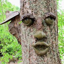 Old Man Tree Face, Concrete Garden Decor, Nose, Eyes, and Mouth