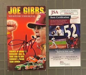 Joe Gibbs REDSKINS HOF Signed Autograph Auto Pamphlet JSA COA