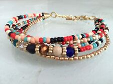 Bohemian Beaded Shamballa Cuff MULTI-COLOR BRACELET Festival Hippie Gypsy