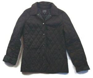 Saks Fifth Avenue womens brown quilted puffer coat winter snap up jacket size XS