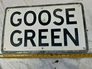 Goose Green vintage road sign ,pressed  aluminium sign