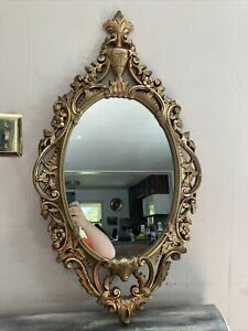 Vintage Large Burwood Products Gold Ornate Scroll Wall Hanging Mirror