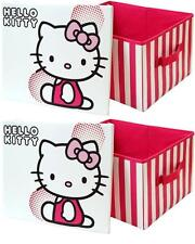 2 x Hello Kitty Toy Storage Box Collapsible Toy Box for Girls Bedroom Nursery