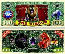 Le CIRQUE ! BILLET de Collection MILLION DOLLAR US ! Fauves, Clown, Acrobates...