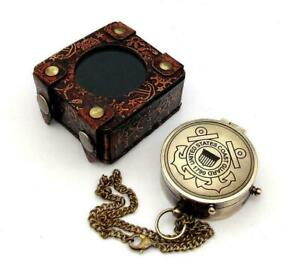 US COAST GUARD Engraved Brass Compass Gift/ Nautical Marine Gift A Perfect Gift
