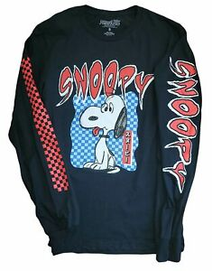 New Men's Peanuts Snoopy Retro Vintage Long Sleeve Black Cartoon T-Shirt Tee