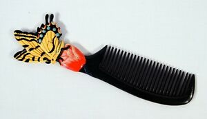 Hand Painted Tiger Yellow Butterfly Comb B36B