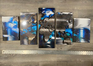 New 5 Piece Abstract Wall Art Canvas Print World Map Home Decor