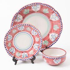 Vietri SOLIMENE Italian Ceramic 3-pc Set Red Chicken Bowl Dinner & Salad Plates
