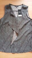 Ladies Next Sleeveless Top Size 10 Grey/Mint Paisley Design New