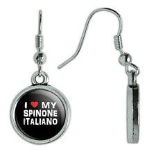 Novelty Dangling Drop Charm Earrings I Love My Dog S-Y
