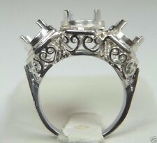 Antique Ring Setting Mounting Mount Platinum Hold 1-7.5MM 2-6MM Ring Size 5.25