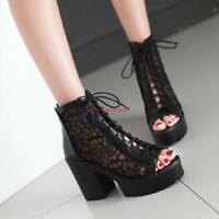 Womens Sandals shoes Block heels Platform Open toe Mesh Lace up Roman Plus size