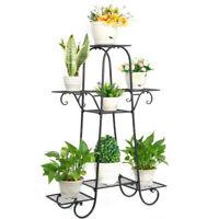 Durable 5 Tier Tall Metal Plant Stand Art Flower Pot Iron Rack for Patio Garden