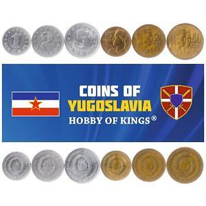 SET OF 6 COINS FROM YUGOSLAVIA. 1, 2, 5, 10, 20, 50 DINARA. 1963