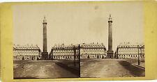 PHOTO STEREOSCOPIQUE ALBUMINE - COLONNE VENDOME 1860 PARIS Place Vendôme