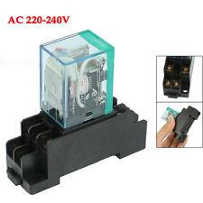 220/240V AC Coil DPDT Power Relay MY2NJ 8 Pin w Socket Base BT