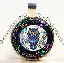 OWL Cabochon Silver/Bronze/Black/Gold Glass Chain Pendant Necklace #6739