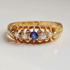 Antico Periodo edoardiano 18 KT Oro Zaffiro & Anello Di Diamanti c1906; misura UK 'P 1/2'