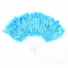 Folding Hollow Plastic Feather Dancing Hand Fan White Cyan Blue S6N1