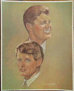 JFK & RFK John & Robert F. Kennedy 1968 Sanger/Artist-Signed Print - 8x10