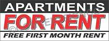 2'X5' APARTMENTS FOR RENT BANNER Outdoor Sign Free First Month Rental Specials
