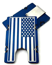 Mens Aluminum Wallet, RFID protection, Blue anodized, Large American Flag