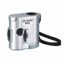 Mini Jeweller 60X Pocket Microscope Jewelry Magnifier Loupe Glass UV LED Light