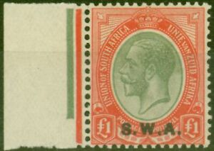South West Africa 1927 £1 Pale Olive-Green & Red SG57 Fine Very Lightly Mtd Mint