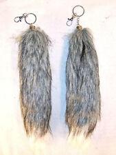 2 FOX TAIL KEY CHAIN GREY W WHITE TIP foxes wild animal fur novelty fake tails