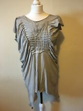 All Saints Grey Asymmetrical Tilly Tshirt UK 6 Ruched Oversized Festival Grunge