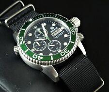 DEEP BLUE 40mm GREEN Bezel Black Dial Diver 1000 SAPPHIRE Watch w/ Extra Strap