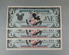 3 CONSECUTIVE 1989 DISNEY DOLLARS - UNCIRCULATED