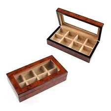 Brown Cufflinks Storage Box Collectors Travelers Wood Case For 8 Pairs