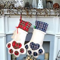 Christmas Pet Stocking Cat Dog Paw Plaid Candy Bags Animal Stocking Gifts Bags