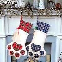Pet Christmas Stocking Dog Paw Plaid Stocking Candy Gift Bags Christmas Sacks