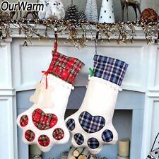 Plaid Christmas Pet Dog Cat Paw Stocking Socks Xmas Tree Hanging Ornaments Gift