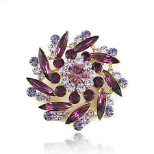 14k Gold GF brilliant purple flower with Swarovski crystals brooch pin