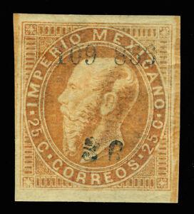 MEXICO 1866 Maximilian 25c org brn - GUADALAJARA + Sub distc. Sc# 33 mint MH XF