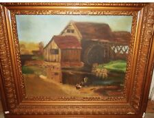Signed Antique Folk Art Painting - PORTRAIT OF BOY WITH TOY BOAT