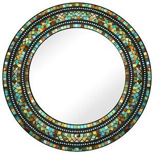 "Midnight Turquoise Mosaic Decorative Round Wall Mirror 24"""
