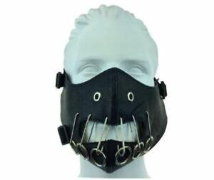 Gothic Black Leather Steampunk Motorcycle Half Mask Biker Cosplay M37005