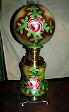 ANTIQUE PLUME & ATWOOD G.W.T.W. BANQUET OIL LAMP (RED ROSES)
