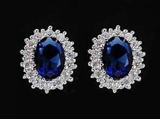 925 ECHT SILBER RHODINIERT *** Ohrstecker Zirkonia safir saphir blau 11 mm