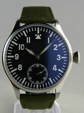 Montre FLIEGER Swiss Superluminova BLUE LUME type Unitas 6498 pilot watch B-uhr