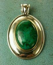James Avery Retired Large 18k & .925 Green Malachite / Chrysocolla Oval Pendant